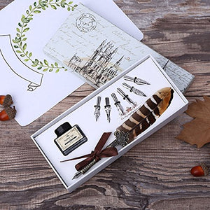 Vintage Natural Handcrafted Feather Dip Pen Set with 6pcs Extra Metal Nibs