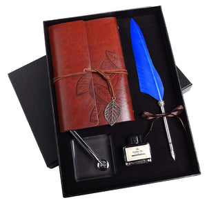 Feather Calligraphy Dip Pen Set with Notebook and Pen Holder in Gift Box