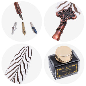 Writing Quill Dip Pen Natural pattern Feather Calligraphy Ink Pen Set