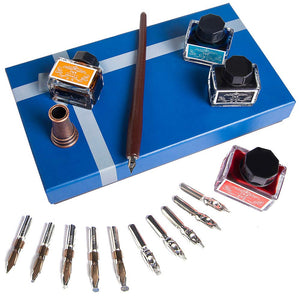 Wooden Calligraphy Dip Pen Set  With 4 Color Inks and 11 Replaceable Nibs