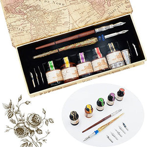 Hethrone Wood Stem Calligraphy Pen Set with 7 Nibs and 5 Colors Inks