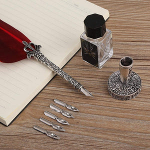 Feather Calligraphy Dip Pen Set for Beginner with 6 Stainless Steel Nibs and Pen Nib Base