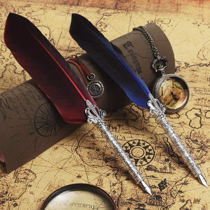 Feather Calligraphy Dip Pen with 5 Replaceable Nibs(Wine Red)