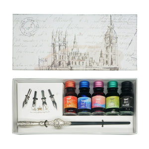 Wooden Calligraphy Dip Pen Set with 2 Bottles Ink and 5 Nibs (Silvery)