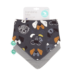 Bandana Bibs 2 pk - Reversible - Grey Dog