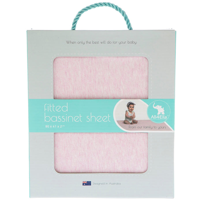 Fitted Bassinet Sheet - Marle Pink