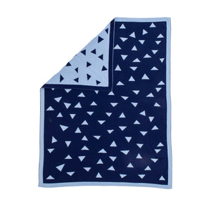 Knitted Blanket - Triangle Blue