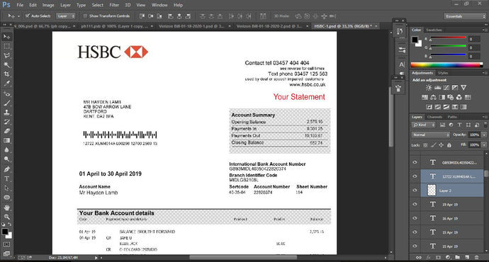 UK - HSBC Bank Statement PSD file ( Photoshop /Template) 2019