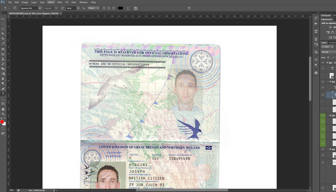 UK Passport PSD file ( Photoshop /Template) New High Quality NEWEST 2019