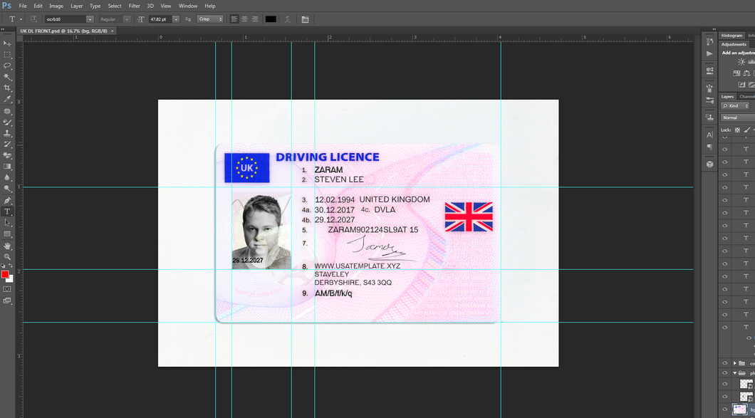 UK Driving Licence PSD file ( Photoshop /Template) New High Quality Front - Back