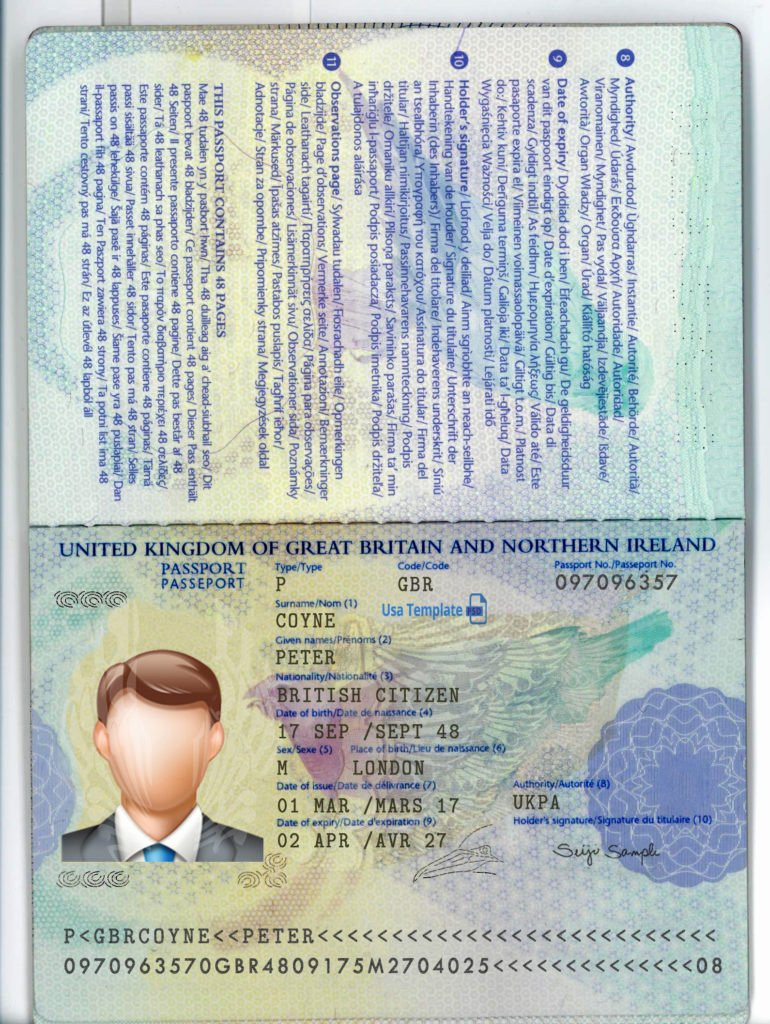 UK Passport PSD file ( Photoshop /Template) New High Quality OLD