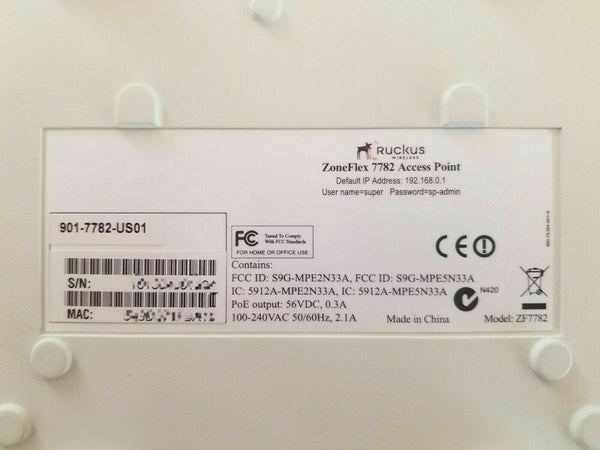 Ruckus ZoneFlex 7782 Dual Band 802.11n Outdoor Access Point USED