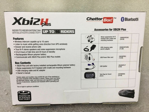 New CHATTERBOX XBI2-H Plus, HJC Motorcycle Helmet Bluetooth Intercom Kit/System