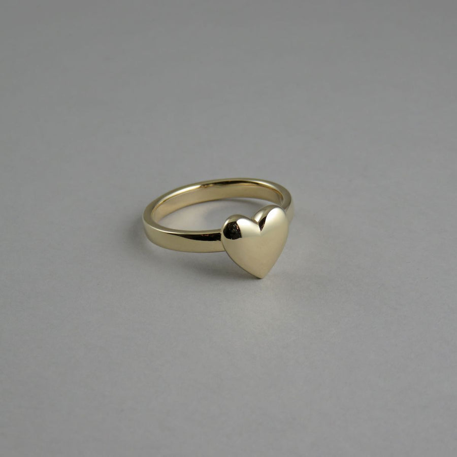 Small Solid Heart Ring