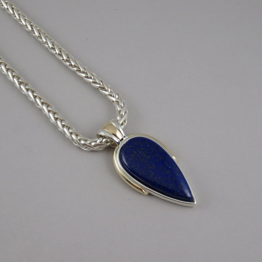 SP1078 One-Off Silver and Gold Pendant with Lapis Lazuli