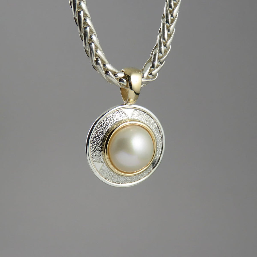 SP1080 One-Off Textured Silver and Gold Pendant with Mabe Pearl