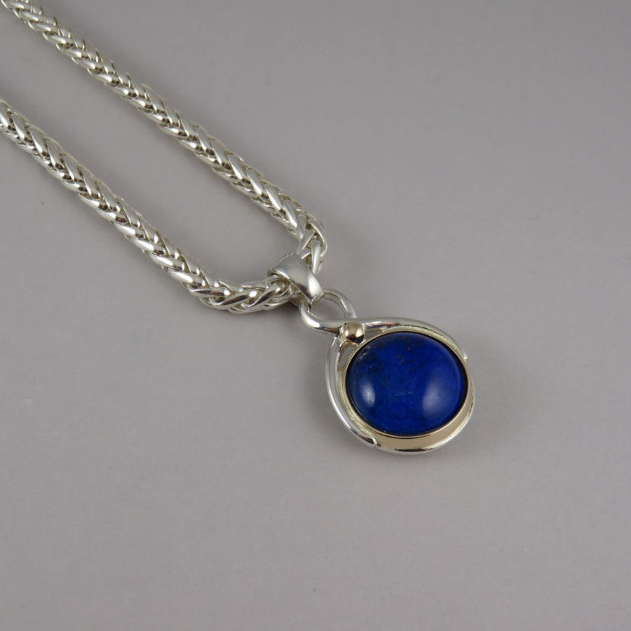 SP1082 One-Off Two Tone Pendant with Cabochon Lapis Lazuli