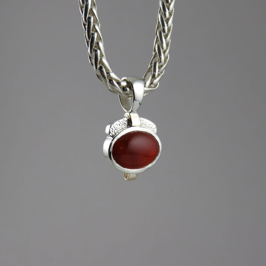 SP1088 One-Off Silver and 9ct Yellow Gold Pendant with Oval Cabochon Carnelian