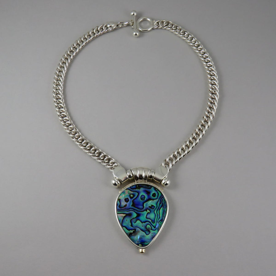 SPC1002 One-Off Silver Double Curb Necklace with Paua Pendant