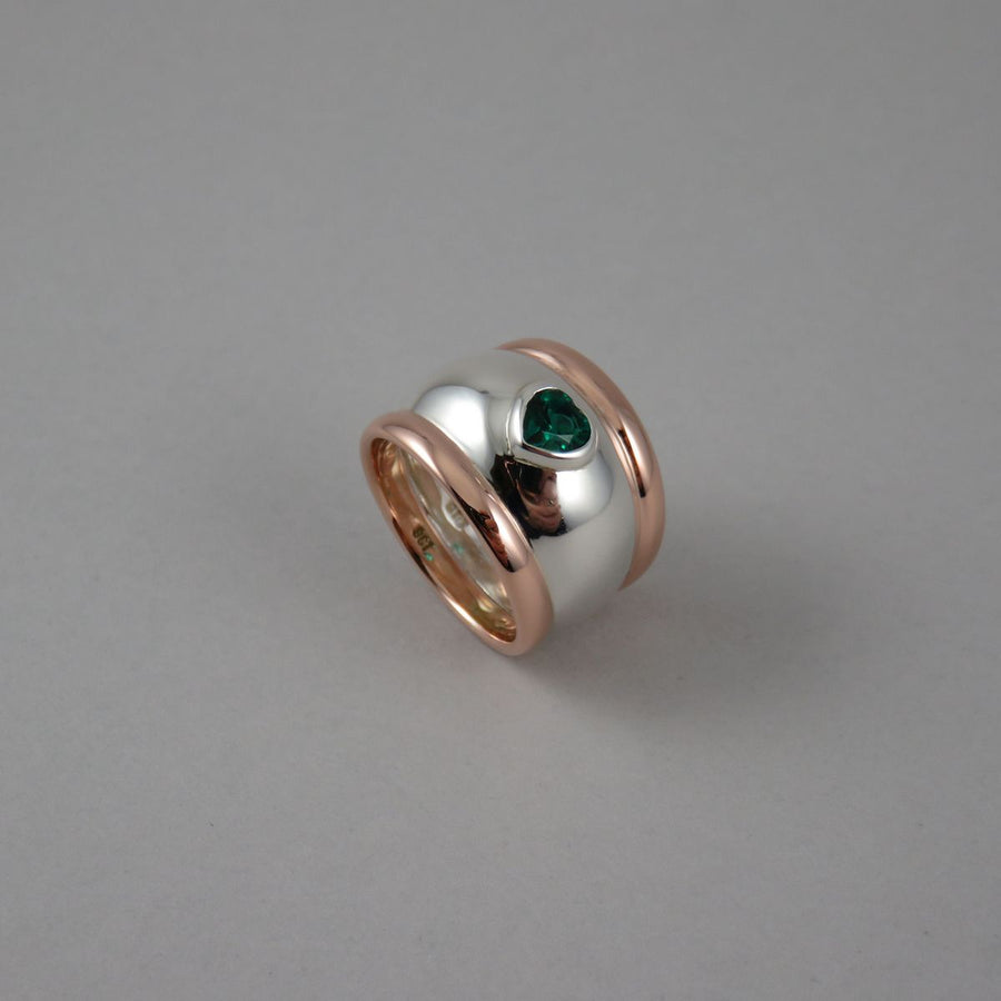 Synthetic Emerald Heart Wide Sterling Silver & 9ct Rose Gold Ring