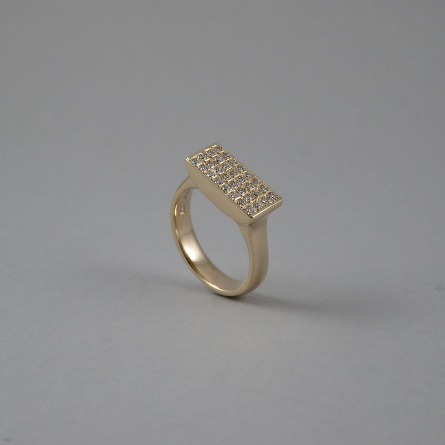 Diamond Tablet 9ct Yellow Gold Ring