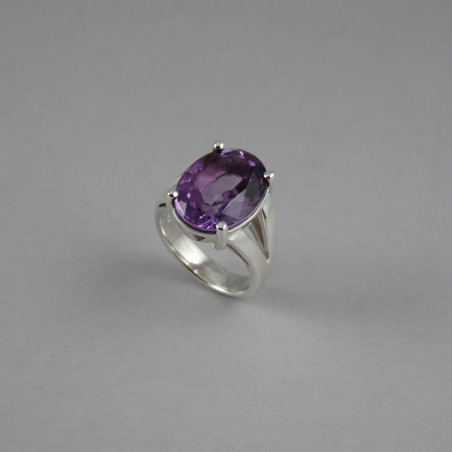 Oval Amethyst Sterling Silver Split Shank Cocktail Ring