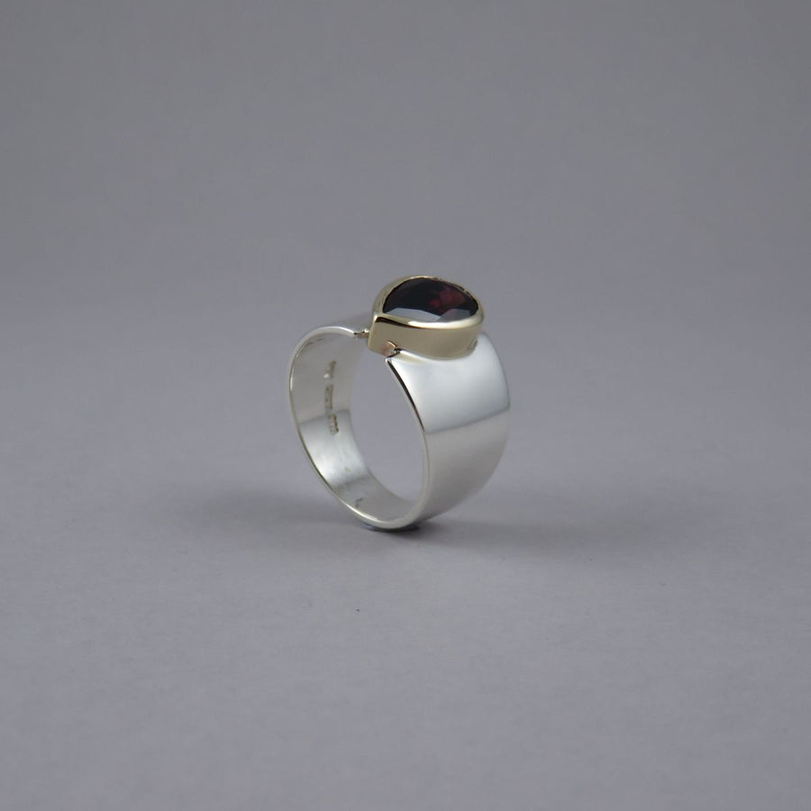 Pear Shaped Garnet Wide Sterling Silver & 9ct Yellow Gold Ring