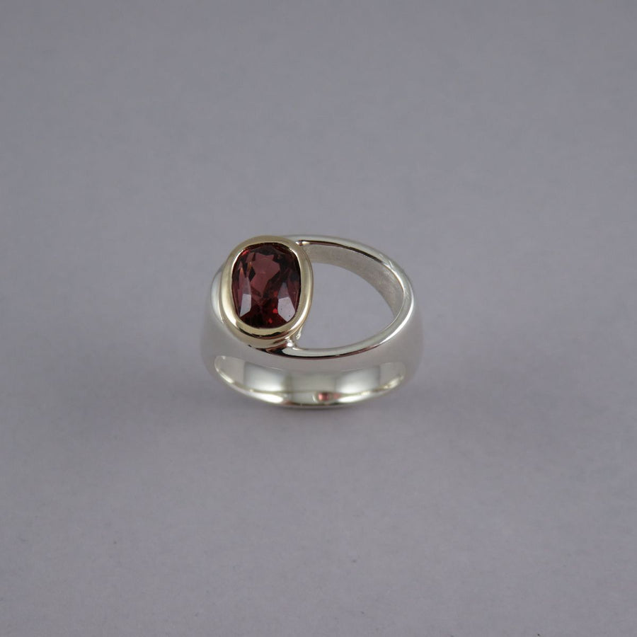 Oval Pink Tourmaline Sterling Silver & 9ct Yellow Gold Ring