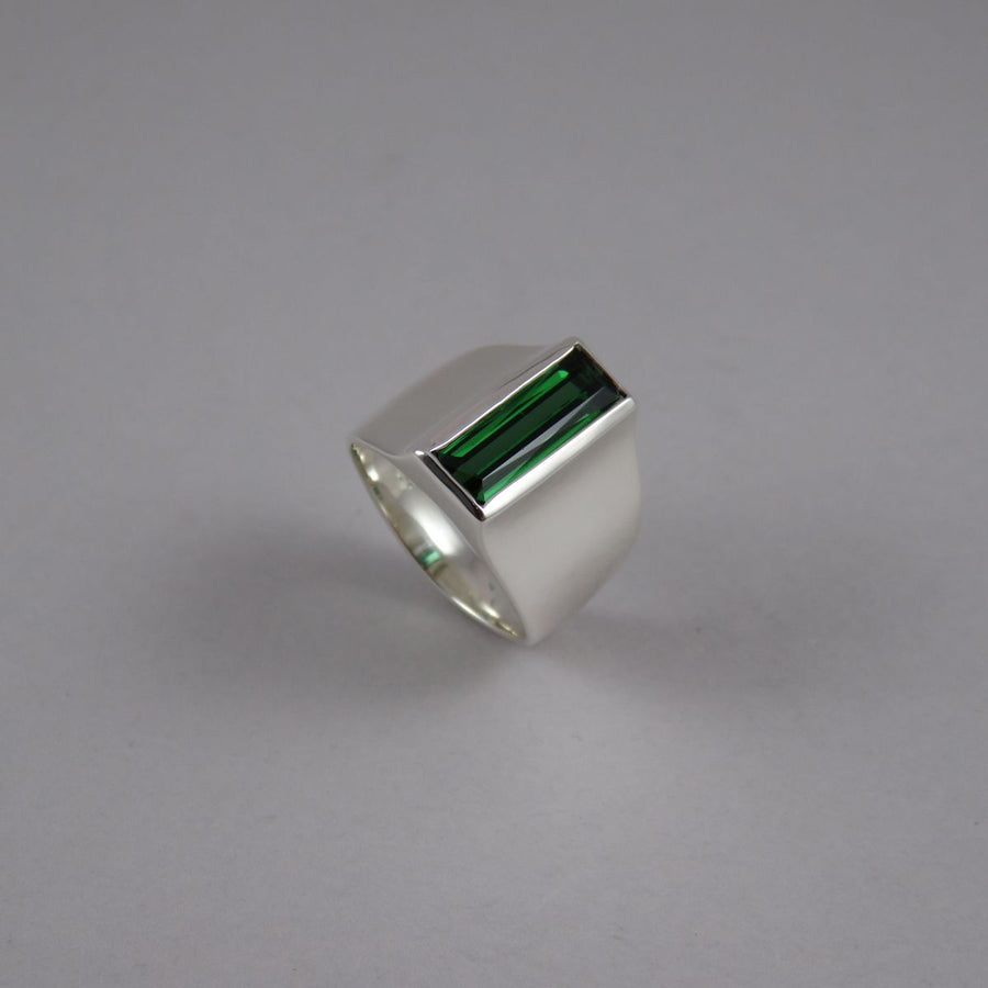 Rectangle Green Tourmaline Wide Sterling Silver Ring