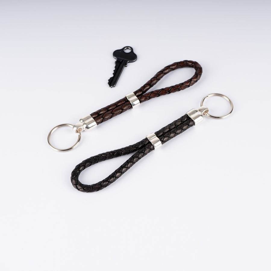 Braided Leather Keyring with Silver Details