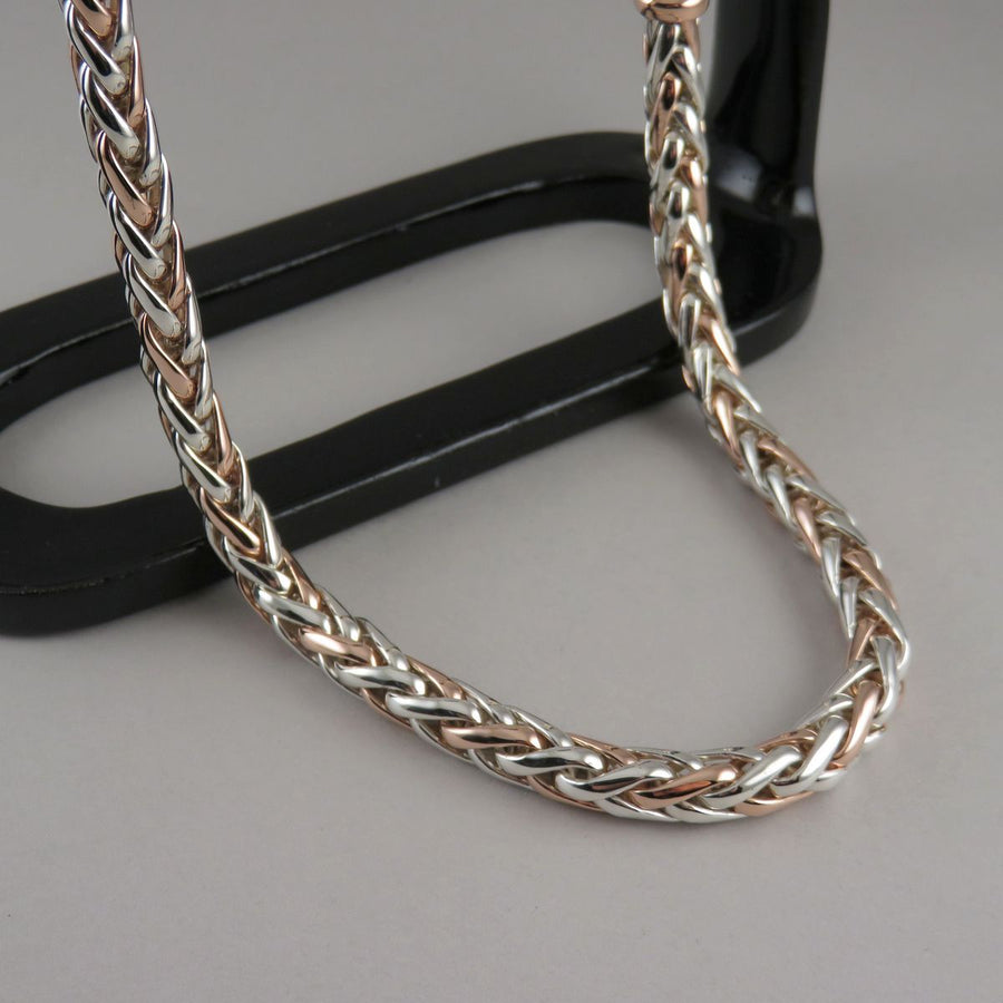 7.0mm Two Tone Foxtail Necklace