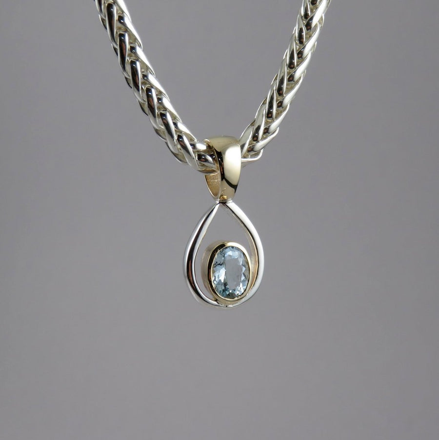 Two-Tone Silver & 9ct Gold Aquamarine Pendant