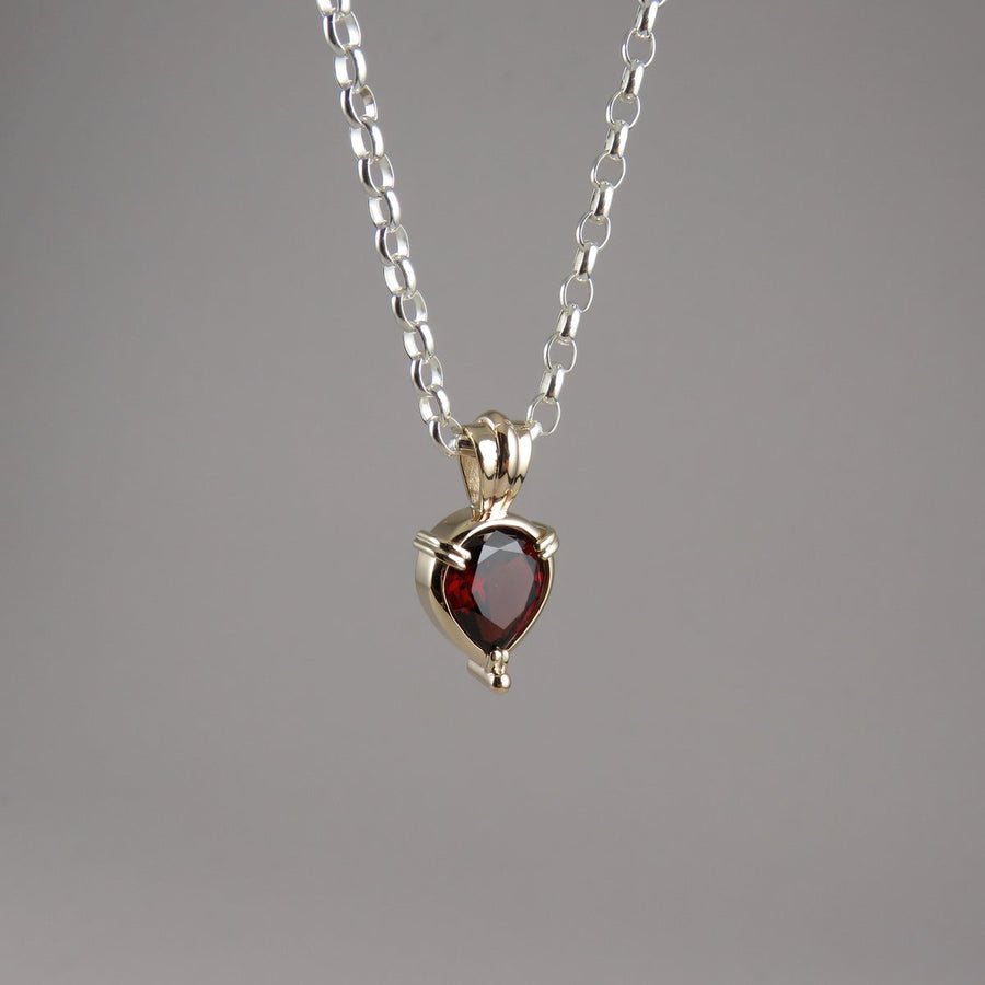 Teardrop Garnet 9ct Yellow Gold Pendant