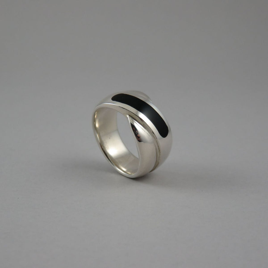 Onyx Inset Wide Crossover Sterling Silver Ring