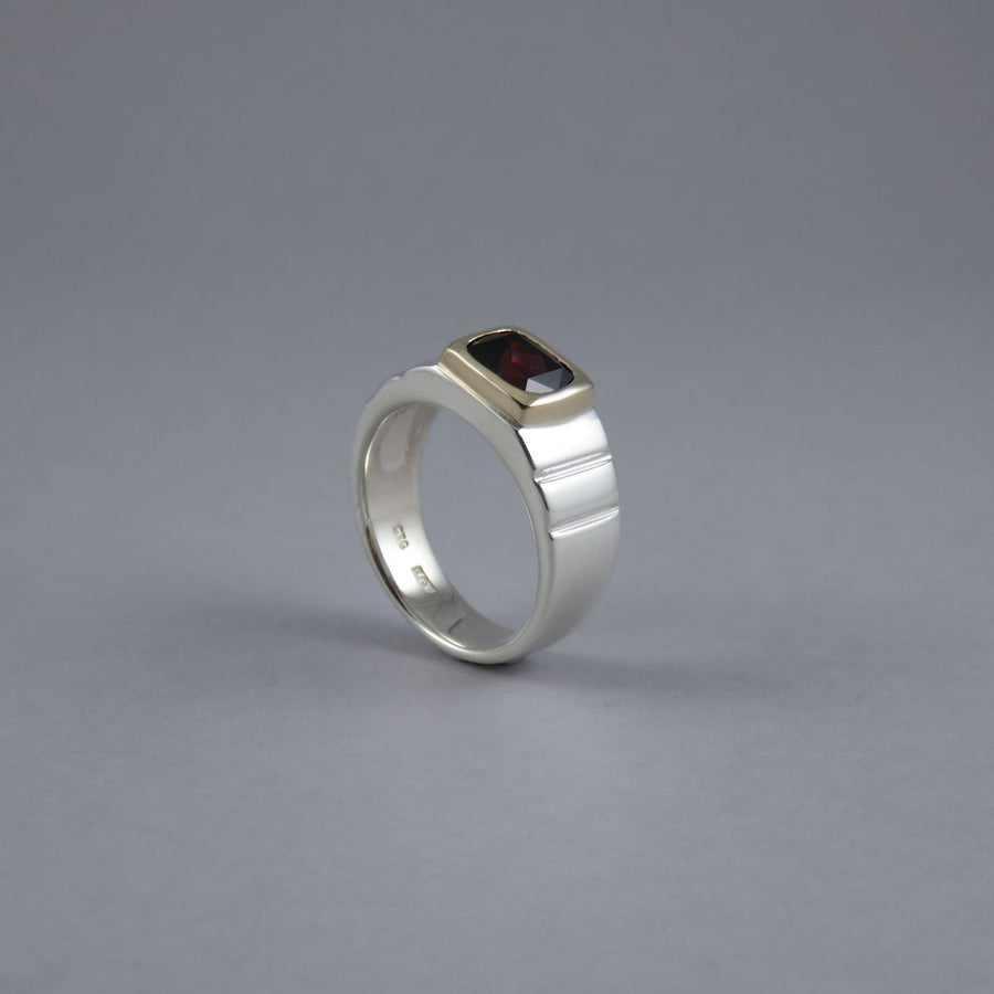Cushion Cut Garnet Sterling Silver & 9ct Yellow Gold Ring