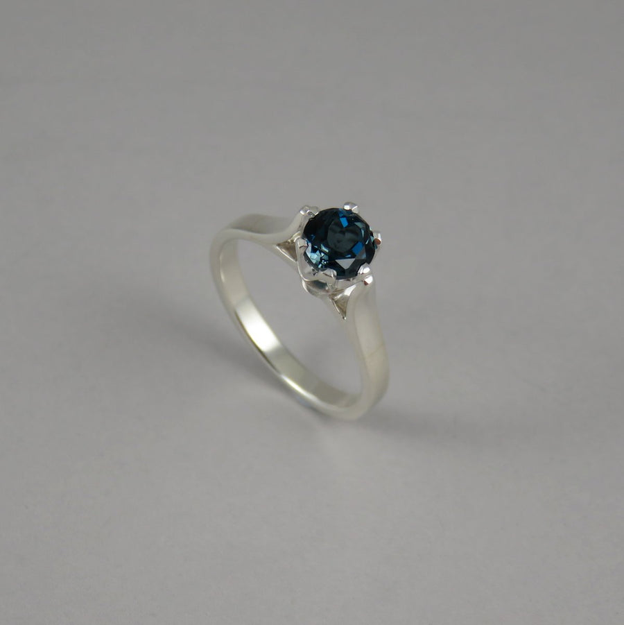 Round London Blue Topaz Sterling Silver Ring
