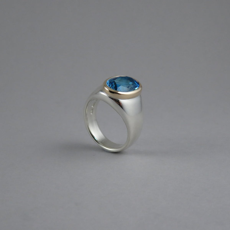 Oval Blue Topaz Chunky Sterling Silver Ring