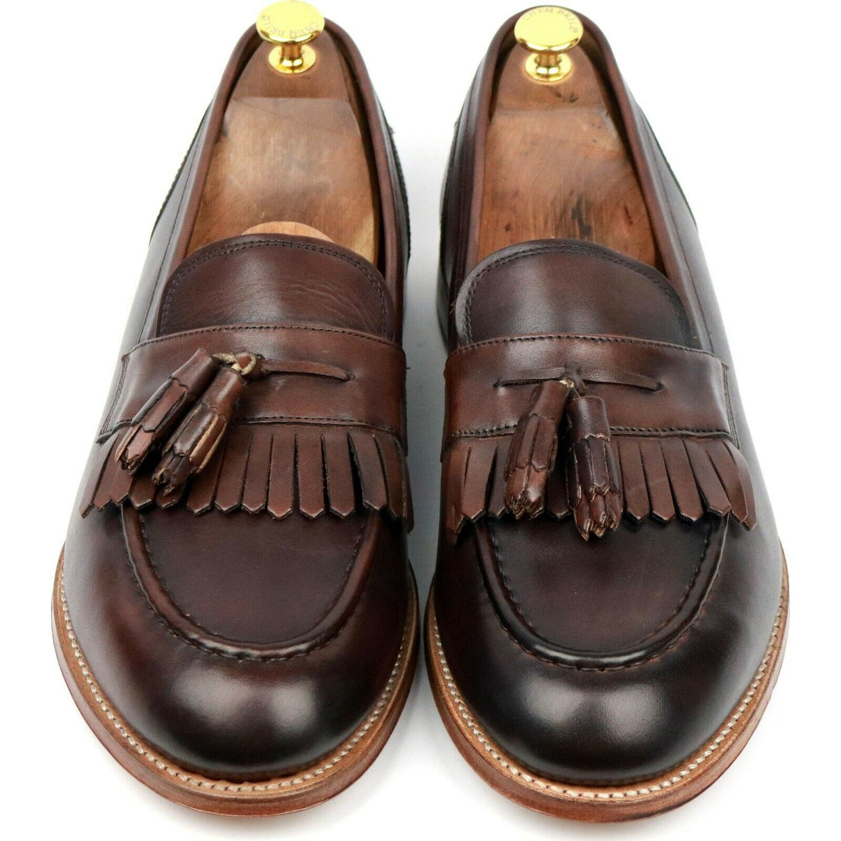 Grenson 'Mackenzie' Brown Leather Tassel Loafers UK 11 E