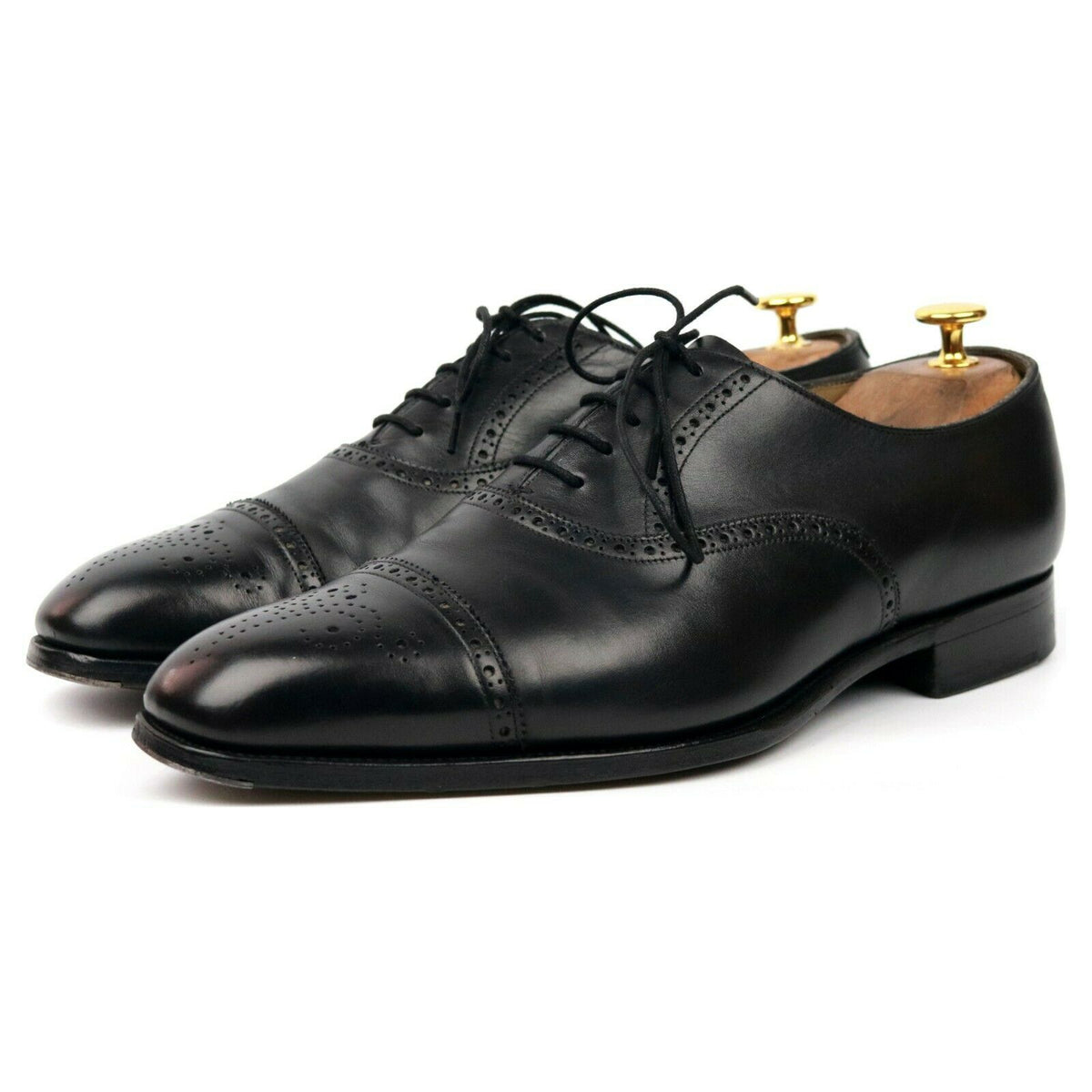 Edward Green 'Asquith' Black Leather Oxford Semi Brogues UK 9 E
