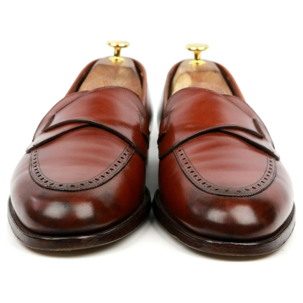 Crockett & Jones X Poulsen Skone Brown Leather Butterfly Loafers UK 11.5 E