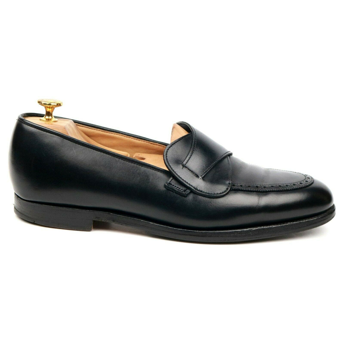 Crockett & Jones X Gieves & Hawkes Black Leather Butterfly Loafers UK 8 E