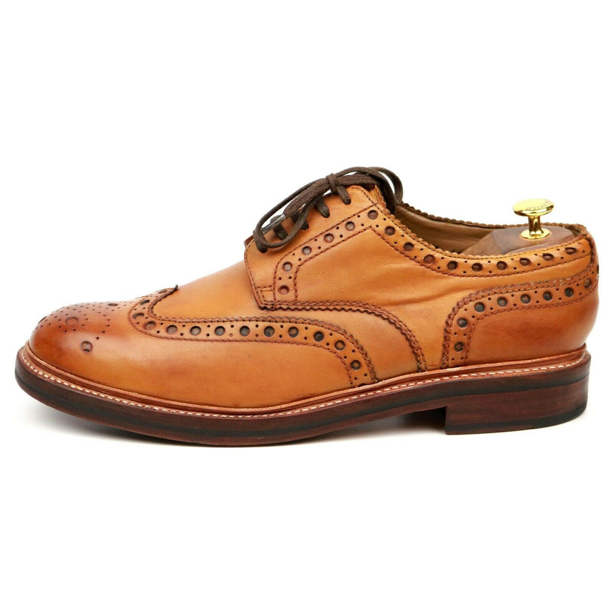 Grenson 'Archie' Tan Brown Leather Derby Brogues UK 10.5 G