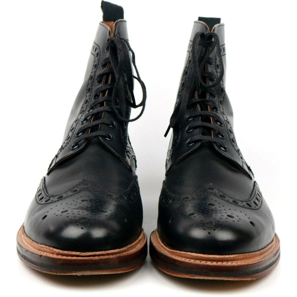 Grenson 'Fred' Black Leather Brogue Boots UK 11.5 G