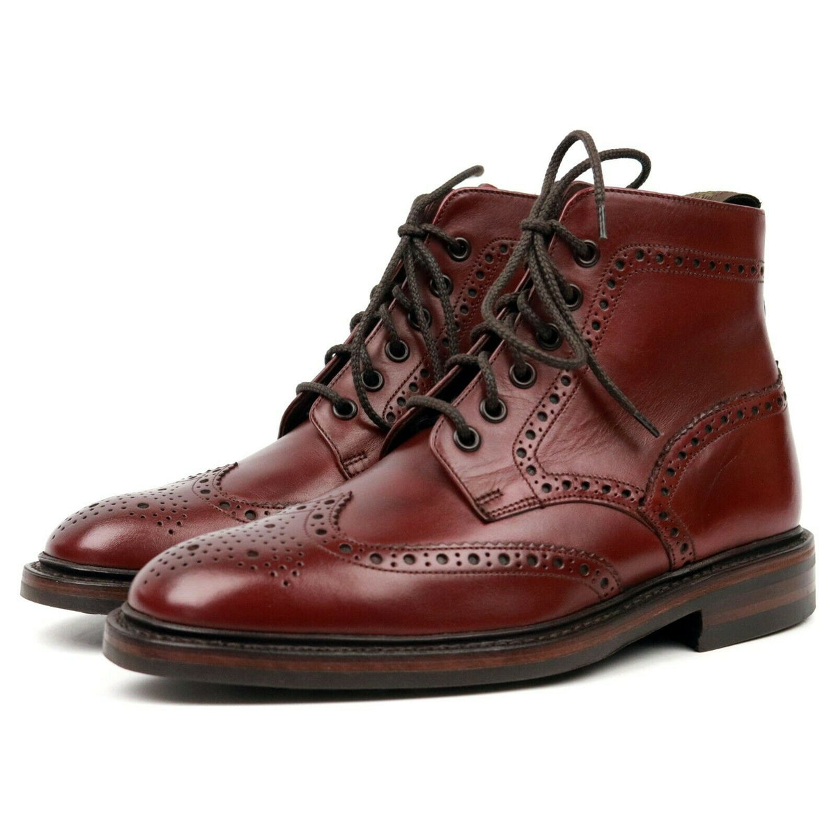 Loake 1880 'Burford' Burgundy Leather Brogue Boots UK 6 F