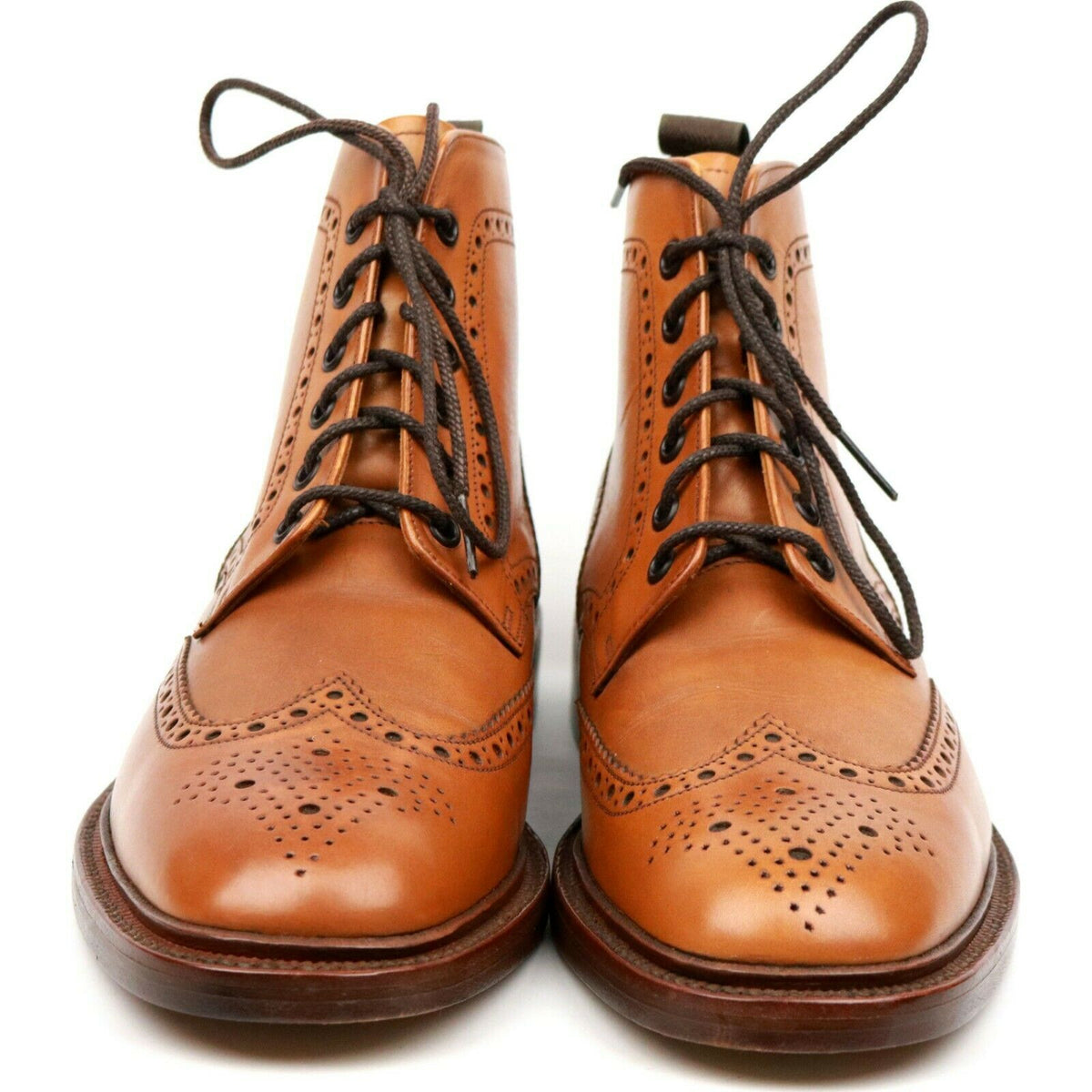 Loake 1880 'Burford 2' Tan Brown Leather Brogue Boots UK 8 F