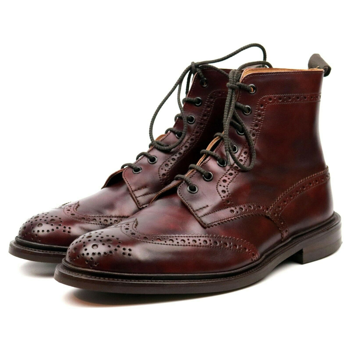 Tricker's 'Stow' Burgundy Museum Leather Brogue Boots UK 10.5