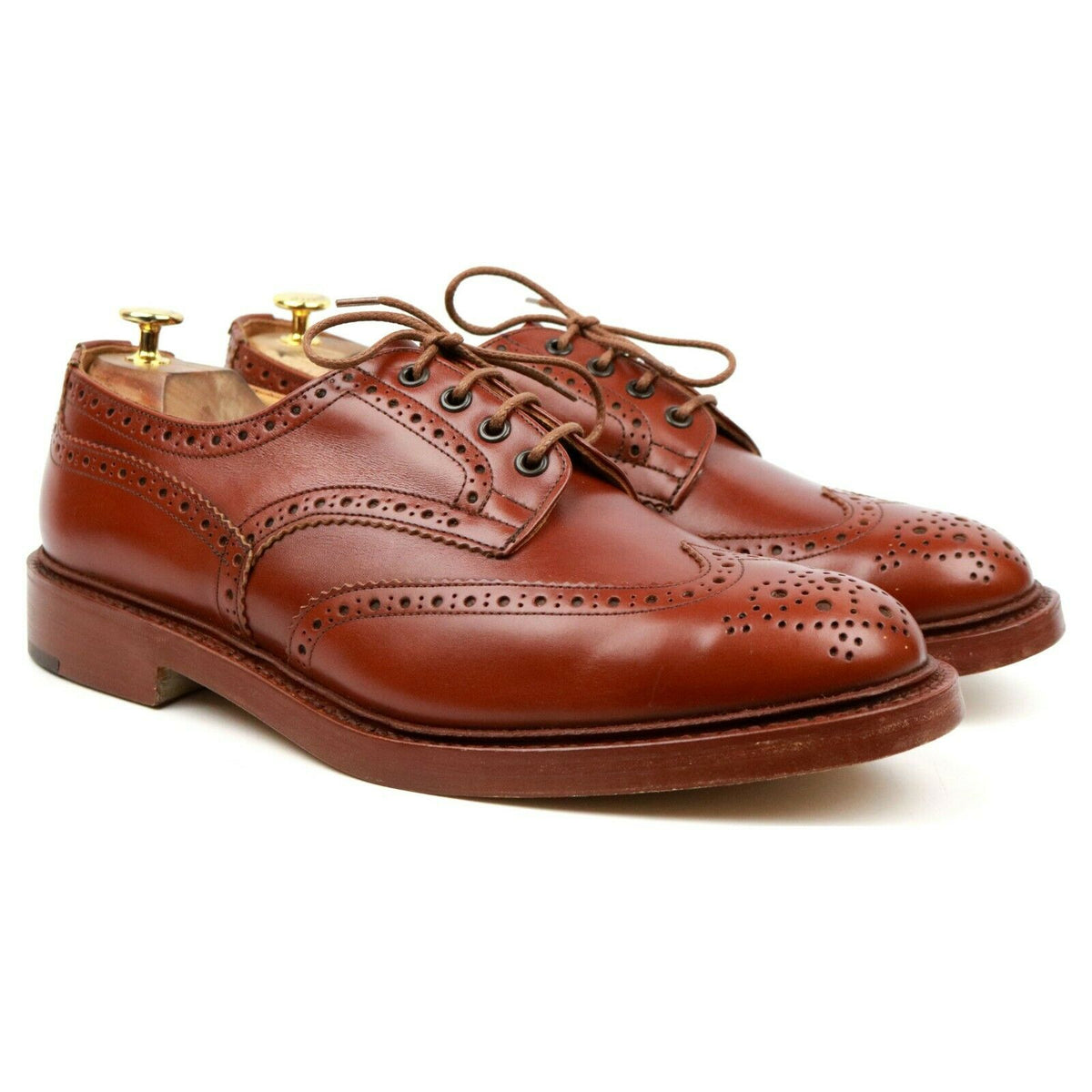 Tricker's 'Bourton' Tan Brown Leather Country Derby Brogues UK 12