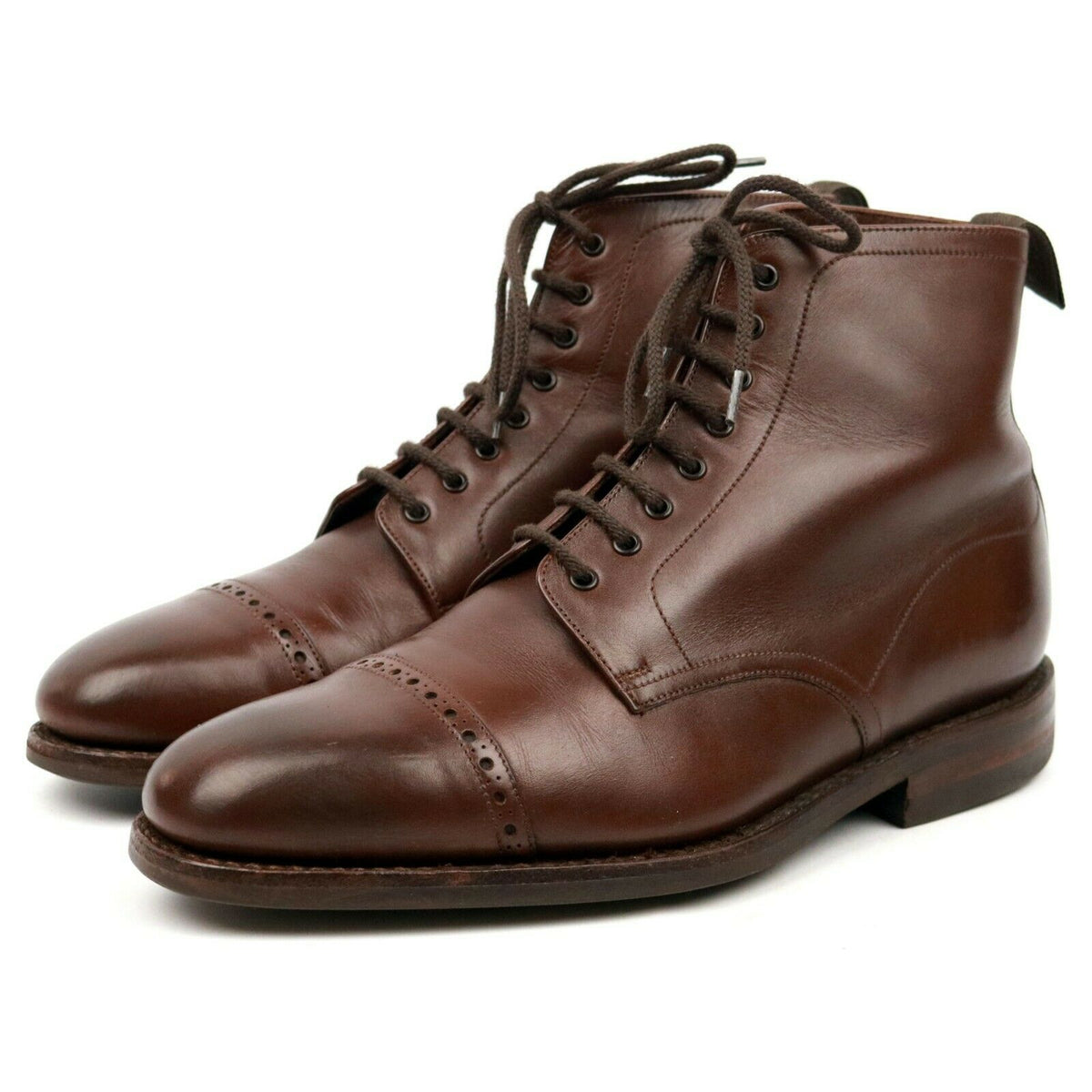 Loake 1880 'Hyde' Brown Leather Cap Toe Boots UK 7 F