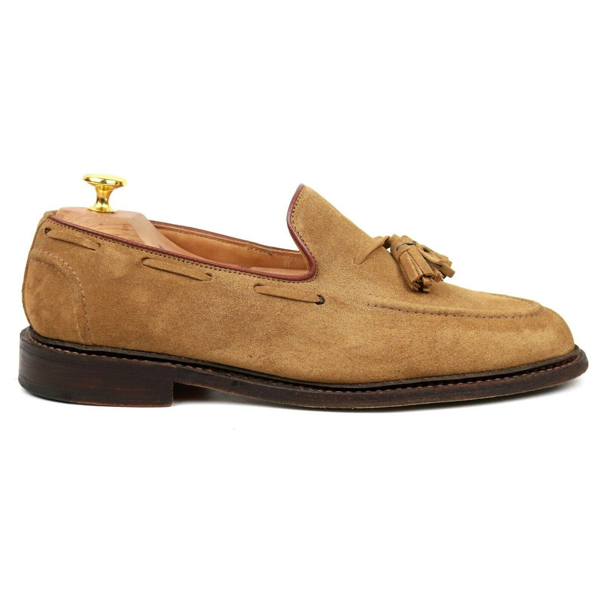 Tricker's 'Elton' Sand Brown Suede Tassel Loafers UK 7