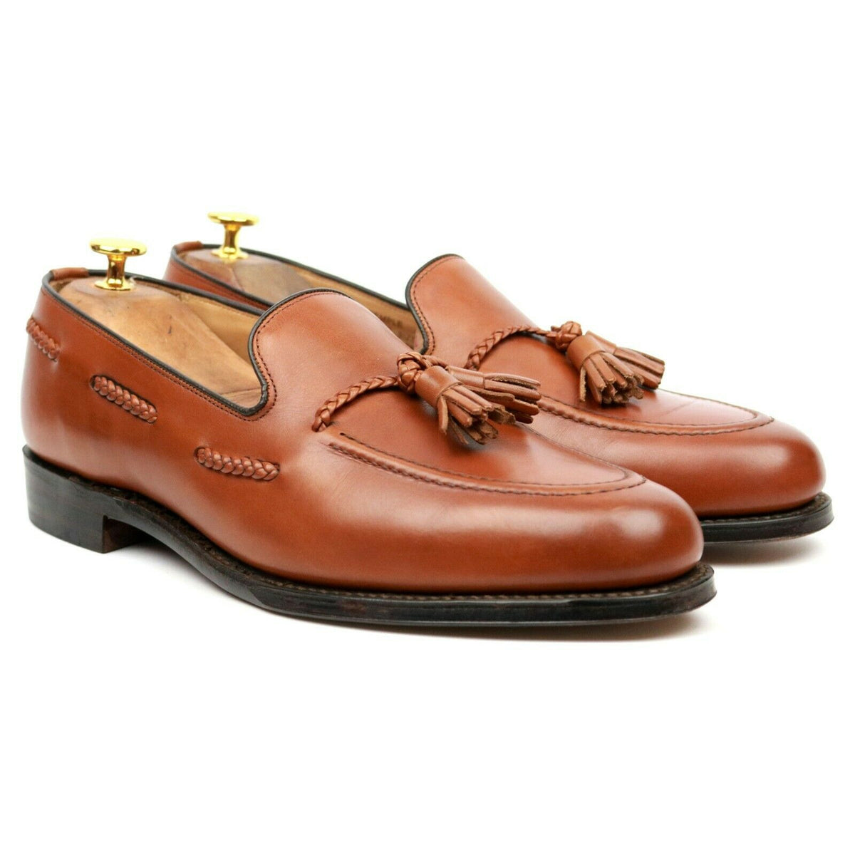 Loake 1880 'Temple' Tan Brown Leather Tassel Loafers UK 9 F